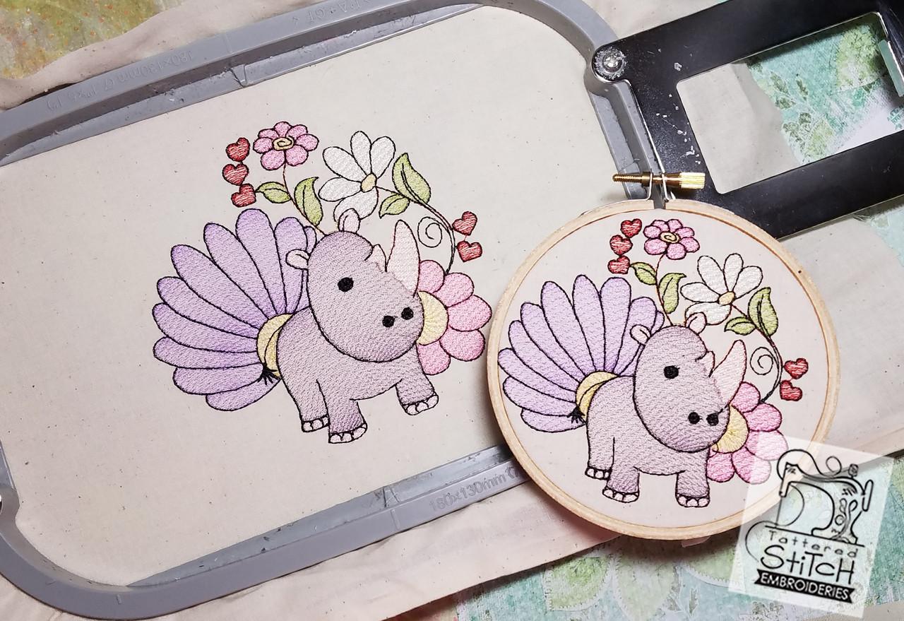 Baby Rhino - Machine Embroidery Design  4x4 & 5x7