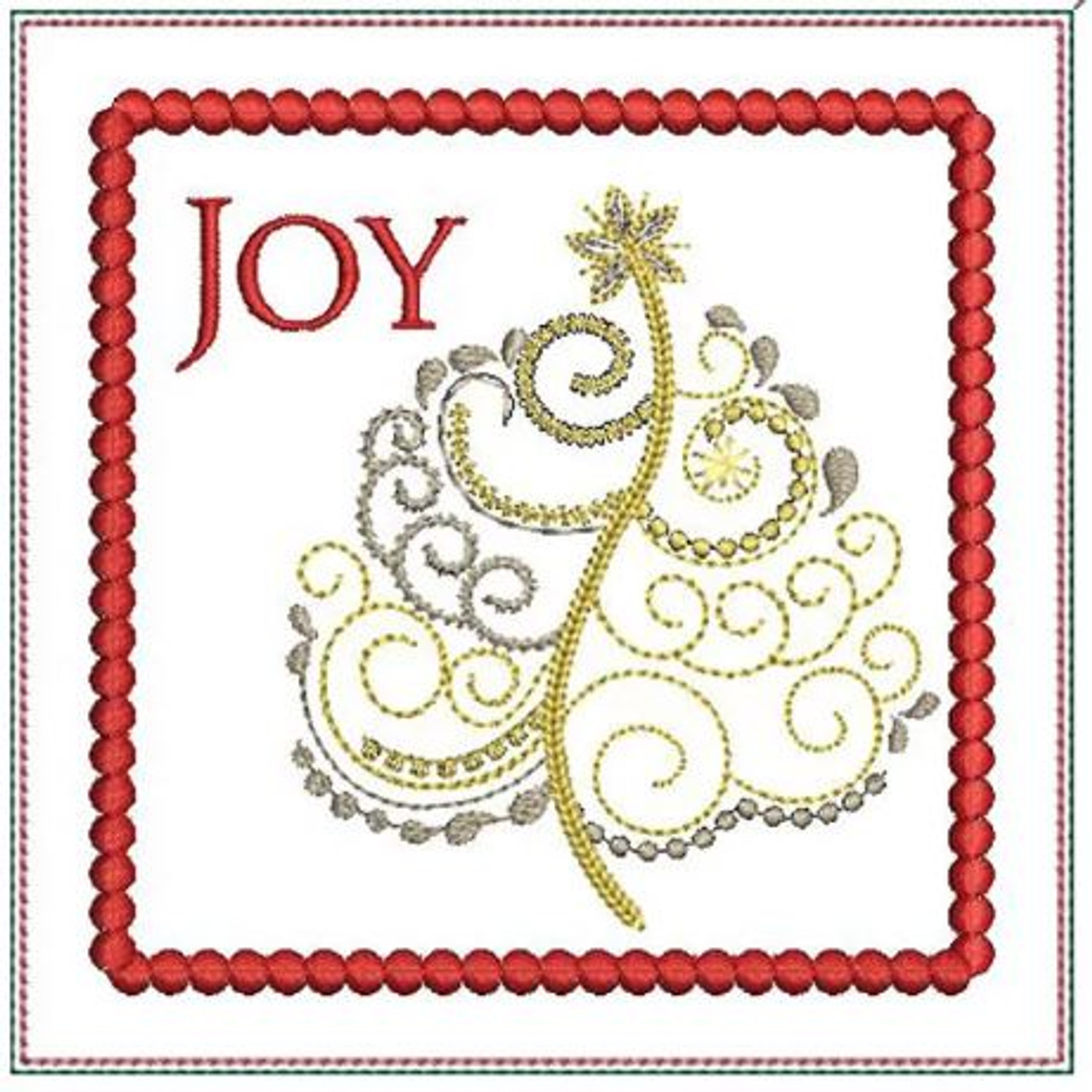 Joy Christmas Tree Mug Rug Machine Embroidery Design 5x7 In The Hoop Instant Download In The Hoop Coaster Holiday Gift Giving Tattered Stitch Embroideries