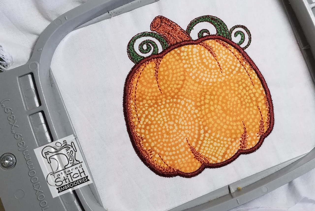 Pumpkin applique 4x4 and 5x7 hoop machine embroidery pattern
