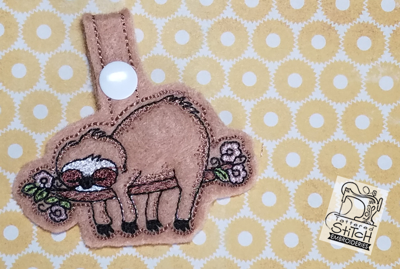 Sloth Key Chain - Machine Embroidery Design  4x4 In The Hoop Instant  Download