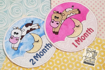 "Monthly Milestones Applique - Cow Jumps Over the Moon Bundle 1-4 - Fits into a 4x4"" Hoop - Instant Downloadable Machine Embroidery"