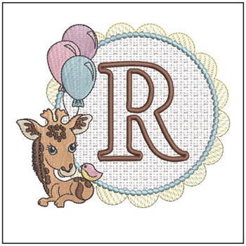 Baby Giraffe Font Applique - R - Embroidery Designs