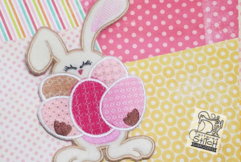 Bunny with Eggs Applique - Embroidery Designs