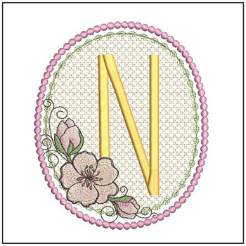 Cherry Blossom Font - N - Embroidery Design