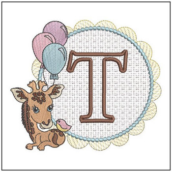 Baby Giraffe Font Applique - T - Embroidery Designs