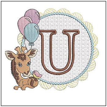 Baby Giraffe Font Applique - U - Embroidery Designs