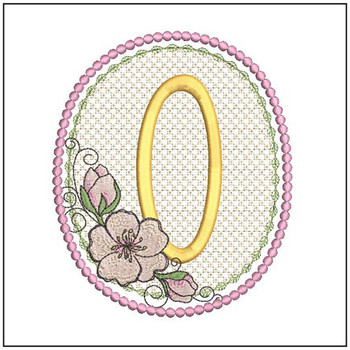 Cherry Blossom Font - O - Embroidery Design