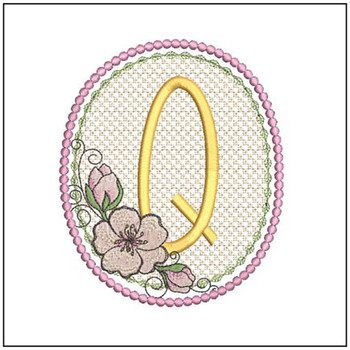 Cherry Blossom Font - Q - Embroidery Design