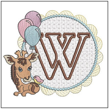 Baby Giraffe Font Applique - W - Embroidery Designs
