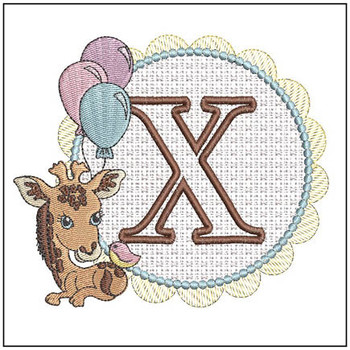 Baby Giraffe Font Applique - X - Embroidery Designs
