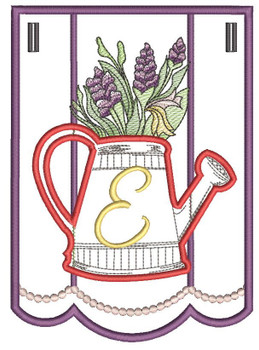 """Foxglove Script Bunting - E - Fits a 5 by 7"""" Hoop - Instant Downloadable Machine Embroidery"""