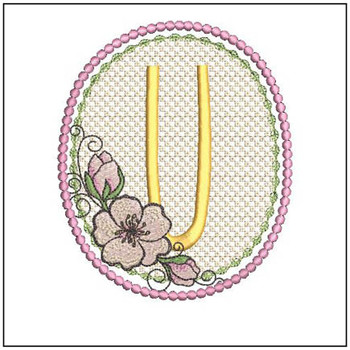 Cherry Blossom Font - U - Embroidery Design