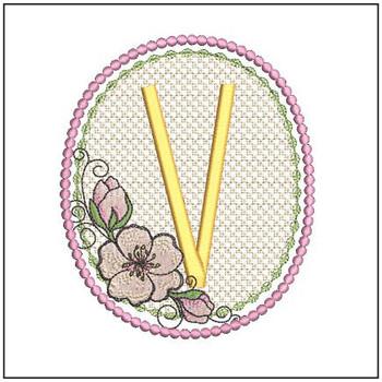 Cherry Blossom Font - V - Embroidery Design