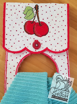 "Cherry Towel Holder- Fits an 8 by 12"" Hoop - Instant Downloadable Machine Embroidery"