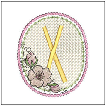 Cherry Blossom Font - X - Embroidery Design