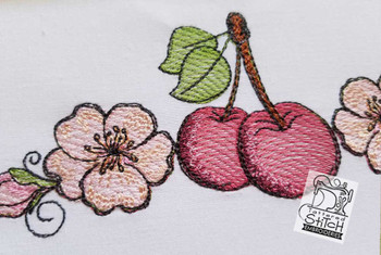 Cherrys & Blossoms Border  - Instant Downloadable Machine Embroidery