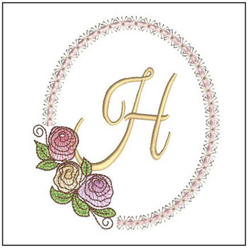 "Rosabella H - Fits into a 5x7"" Hoop - Instant Downloadable Machine EmbroideryC"