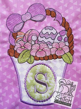 "Easter Basket Applique - Fits a 5 by 7"" and 8 by 8"" Hoop - Instant Downloadable Machine Embroidery"