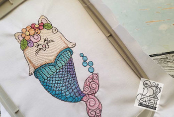 """Mermaid Whiskers - 4x4, 5x7 and 8x8"""" Hoop Sizes - Instant Downloadable Machine Embroidery"""