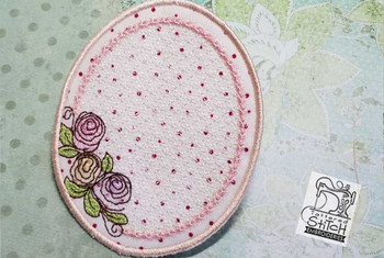"Rosebud Coaster - Fits a 5x7"" Hoop - Instant Downloadable Machine Embroidery"