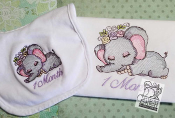 Sleeping Ellie Monthly Milestones 1-4 - Embroidery Designs
