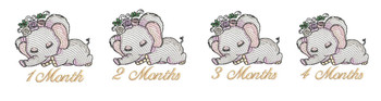 "Sleeping Ellie Monthly Milestones Bundle 1-4 - Fits into a 4x4"" & 5x7"" Hoop - Instant Downloadable Machine Embroidery"
