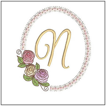 "Rosabella N - Fits into a 5x7"" Hoop - Instant Downloadable Machine Embroidery"