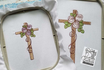"""Rosebud Cross - 4x4 and 5x7"""" Hoop Sizes - Instant Downloadable Machine Embroidery"""