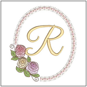 "Rosabella R - Fits into a 5x7"" Hoop - Instant Downloadable Machine Embroidery"