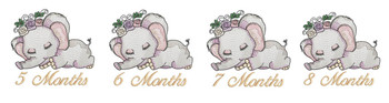 "Sleeping Ellie Monthly Milestones Bundle 5-8- Fits into a 4x4"" & 5x7"" Hoop - Instant Downloadable Machine Embroidery"