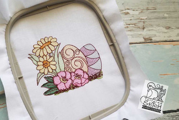 """Daisy's with Eggs - 4x4, 5x7 and 8x8"""" Hoop Sizes - Instant Downloadable Machine Embroidery"""