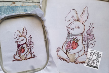 """Bunny with Carrot Bouquet - 4x4, 5x7 and 8x8"""" Hoop Sizes - Instant Downloadable Machine Embroidery"""