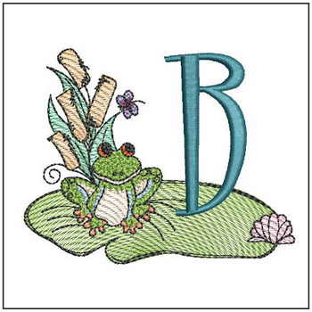 "Loungin Lily Pad - B - Fits in a 4x4"" Hoop - Instant Downloadable Machine Embroidery"