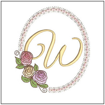 "Rosabella W - Fits into a 5x7"" Hoop - Instant Downloadable Machine Embroidery"
