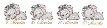 "Sleeping Ellie Monthly Milestones Bundle 9-12- Fits into a 4x4"" & 5x7"" Hoop - Instant Downloadable Machine Embroidery"