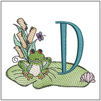 "Loungin Lily Pad - D - Fits in a 4x4"" Hoop - Instant Downloadable Machine Embroidery"