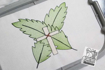 """Cross with Palm Fronds Fits a 5x7"""" Hoop Sizes - Instant Downloadable Machine Embroidery"""