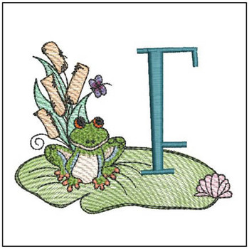 "Loungin Lily Pad - F - Fits in a 4x4"" Hoop - Instant Downloadable Machine Embroidery"