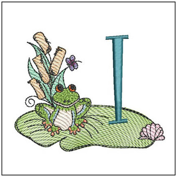 "Loungin Lily Pad - I - Fits in a 4x4"" Hoop - Instant Downloadable Machine Embroidery"