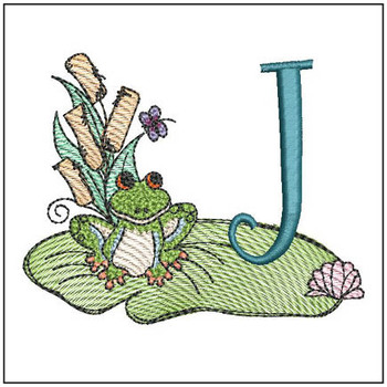 "Loungin Lily Pad - J - Fits in a 4x4"" Hoop - Instant Downloadable Machine Embroidery"