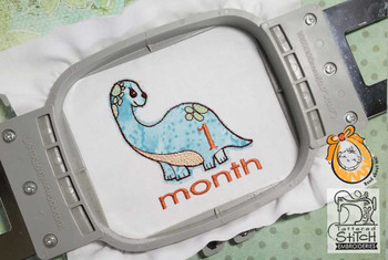 """Dinosaur Monthly Milestones Bundle 1-4- Fits into a 4x4"""" & 5x7"""" Hoop - Instant Downloadable Machine Embroidery"""