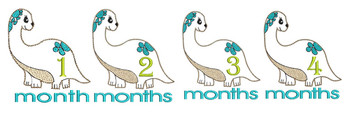 "Dinosaur Monthly Milestones Bundle 1-4- Fits into a 4x4"" & 5x7"" Hoop - Instant Downloadable Machine Embroidery"