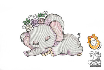 "Sleeping Ellie - 4x4 and 5x7"" Hoop Sizes - Instant Downloadable Machine Embroidery"