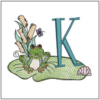 Loungin Lily Pad - K - Embroidery Designs