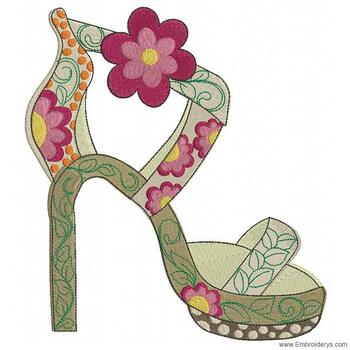 Super Sassy Floral Pump - Embroidery Designs
