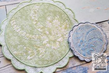 Floral Button Coaster - 1 - Embroidery Design