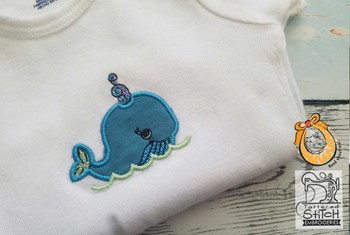 "Baby Whale Applique - 4x4 "" Hoop Size - Instant Downloadable Machine Embroidery"