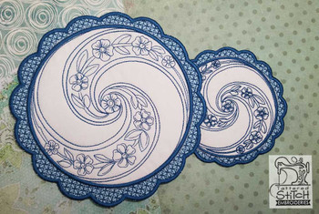 Floral Button Coaster - 2 - Embroidery Design