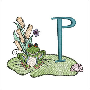 "Loungin Lily Pad - P - Fits in a 4x4"" Hoop - Instant Downloadable Machine Embroidery"