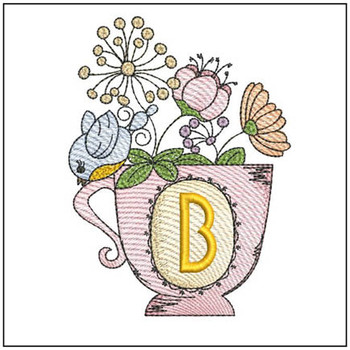 """Floral Finch Teacup B - Fits in a 5x7"""" Hoop - Instant Downloadable Machine Embroidery"""